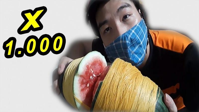 Phá Hủy Quả Dưa Hấu Với 1.000 Sợi Dây Chun