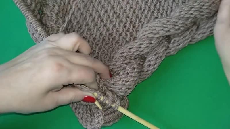 2ч.Как связать шарф капюшон с косой на подростка спицами _ Scarf Hooded knitting _ Lesson2