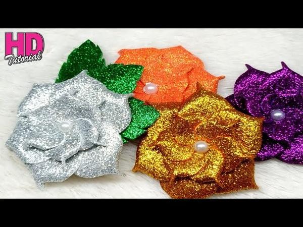 DIY - Cara membuat bunga cubit dari spon Glitter || How To make Glitter Foam Sheet || HD TUTORIAL