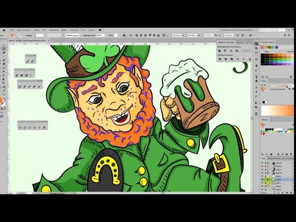Speed art vector painting of a leprechaun for Saint Patrick's day, Adobe Illustrator