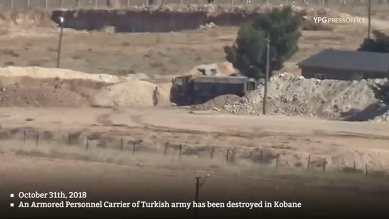 Курды уничтожили из ПТРК грузовик турецкой армии рядом с городом Кобани