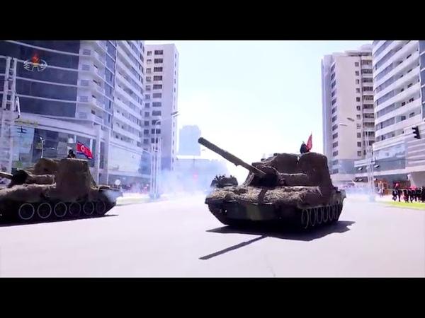 조선민주주의인민공화국창건 70돐경축 열병식참가자들을 수도의 거리에서