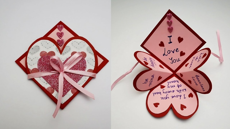 DIY Handmade Heart Pop Up Card For Valentine's Day / Anniversary   Love Card   Card For Scrapbook