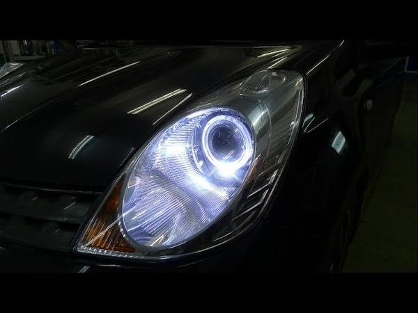 Ниссан Ноут светодиодные линзы Оптима в фарах Тюнинг фар Nissan Note