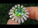 UNTREATED Near Flawless Peridot Diamond Ring Solid 14K Gold - Victoria Beckham
