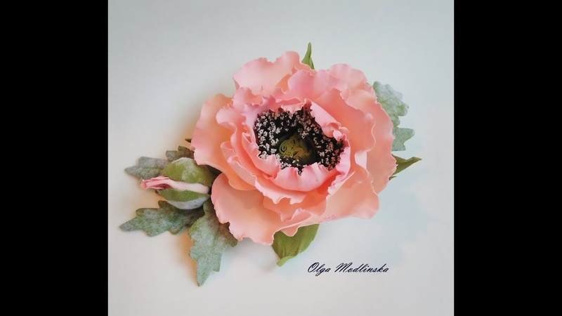 Заколка с цветком мака из фоамирана.