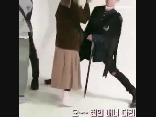 jin being too tall for the staff still sends