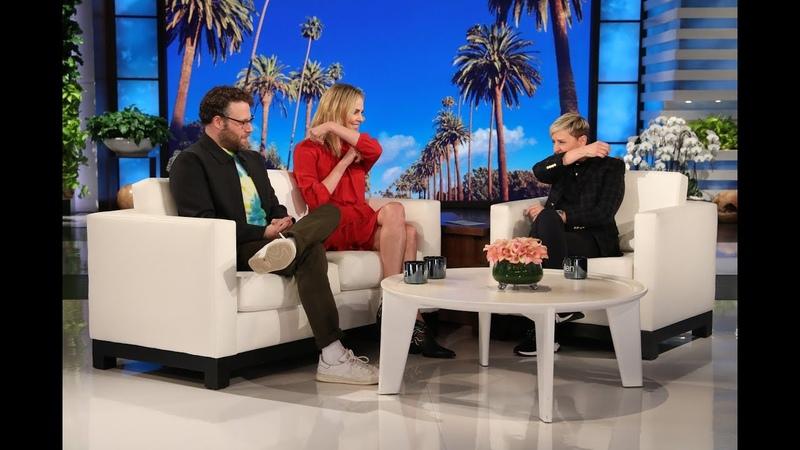 Charlize Theron Shows Seth Rogen Ellen Her Make Out Tips