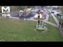 Мальчик поджег декоративный цветок на детской площадке. Видео прикол
