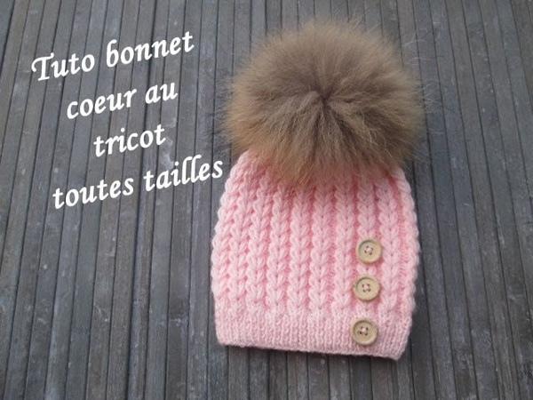 TUTO BONNET POINT COEUR AU TRICOT Heart beanie hat knitting GORRO PUNTO CORAZON DOS AGUJAS