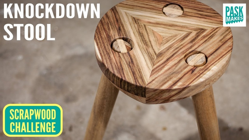 Knockdown stool with Removable Legs Scrapwood Challenge Episode Fourteen