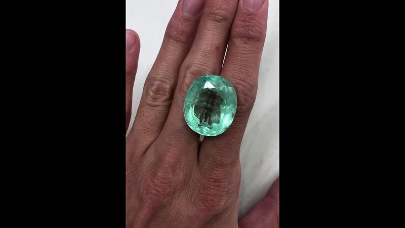 Very Large 62.96 Carat Oval Cut Colombian emerald loose gemstone