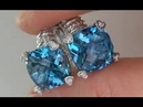 Certified Jewelry Consignment Vintage 1960s Estate Collection - Swiss Blue Topaz Diamond Earrings