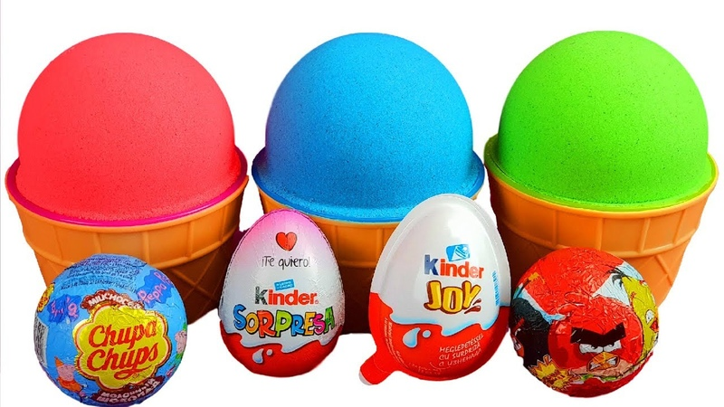 3 Color Kinetic Sand in Ice Cream Cups | Surprise Toys Chupa Chups Kinder Surprise Eggs