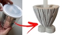 Castiçal de cimento Super Fácil de Fazer Reciclando Lata de Leite