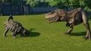 Ankylosaurus Fully Modified VS T Rex I Rex I Raptor Spinosaurus and Allosaurus JWE