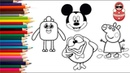 Coloring and drawing for kids, toddlers CARTOON CHARACTERS. Learn colors in English.