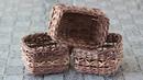 Ажурная коробочка с узором крестики . Плетение из газет