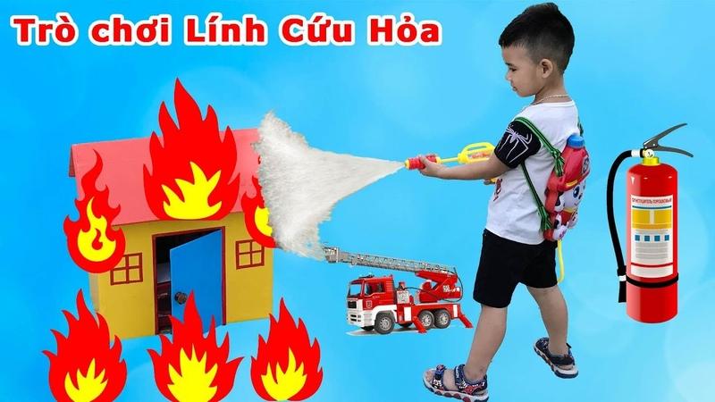 Trò Chơi Bé Làm Lính Cứu Hỏa Đi Chữa Cháy ♥ Min Min TV Minh Khoa ♥
