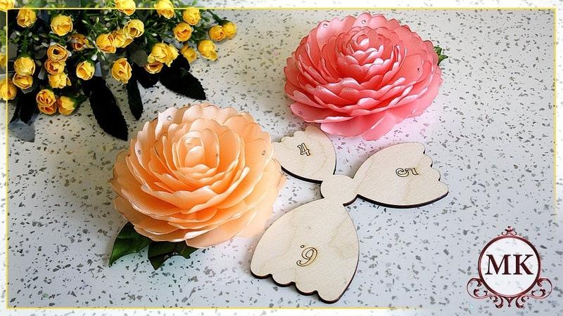 Роза из атласной ленты по шаблону. Цветы. Канзаши. МК. / DIY. Ribbon rose. Flowers. Kanzashi.