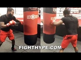 ADRIEN BRONER ATTACKS HEAVY BAG LIKE A GHOST ON PAC-MAN PUTTING IN SERIOUS WORK FOR PACQUIAO