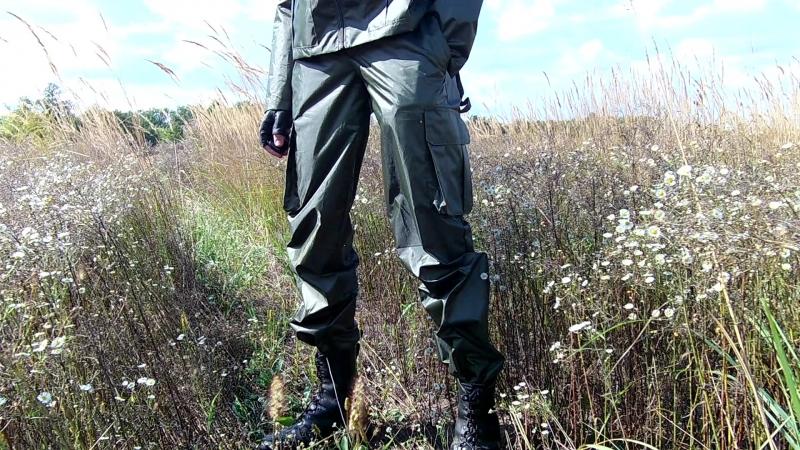 Армейский костюм из блестящей плащёвки цвета хаки