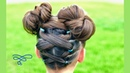 Upward Criss Cross Ponytails with Messy Buns