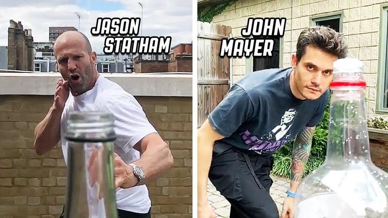BEST BOTTLE CAP CHALLENGE COMPILATION!   feat. Jason Statham, John Mayer, Max Holloway
