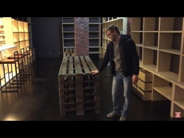 Мебель из паллет для хранения в винотеке Экобазара.