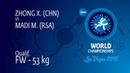 Qual. FW - 53 kg: X. ZHONG (CHN) df. M. MADI (RSA) by FALL, 2-0
