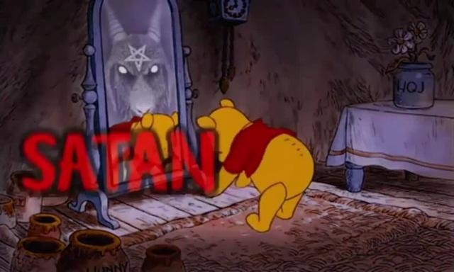 Winnie the Pooh praising satan