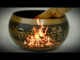 Tibetan singing bowl &amp sounds of a camp fire