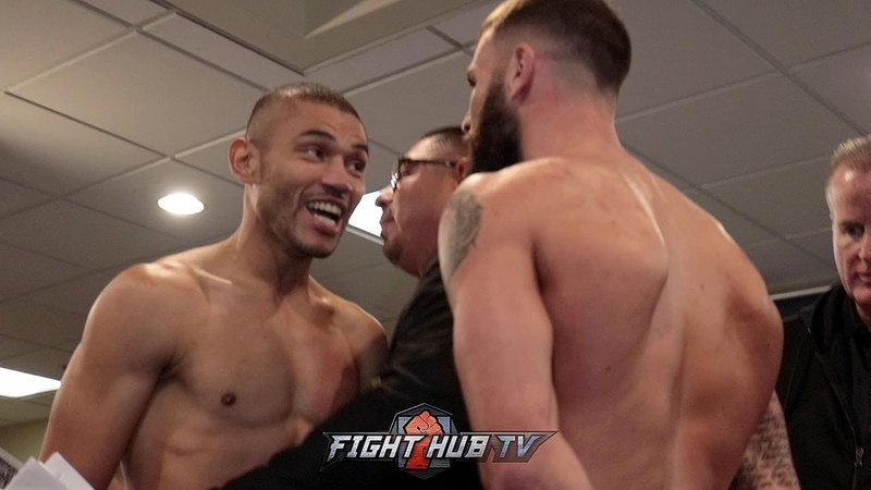 JOSE UZCATEGUI CALEB PLANT FIRED UP! BOTH JAW AT EACH OTHER DURING WEIGH IN FACE OFF