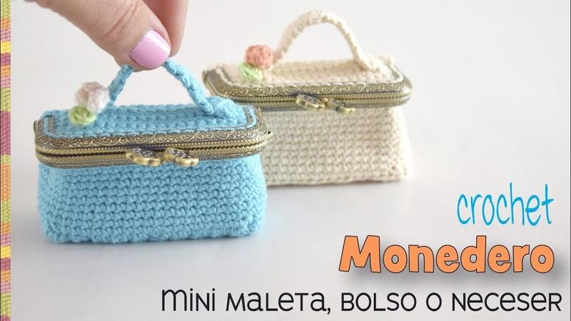 Monedero mini maleta bolso o neceser con broche o boquilla tejido a crochet Tejiendo Perú