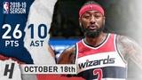 John Wall Highlights Wizards vs Heat 2018.10.18 - 26 Pts, 10 Assists