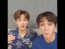 Lucas making his eyes big like mark's and mark giggling at him