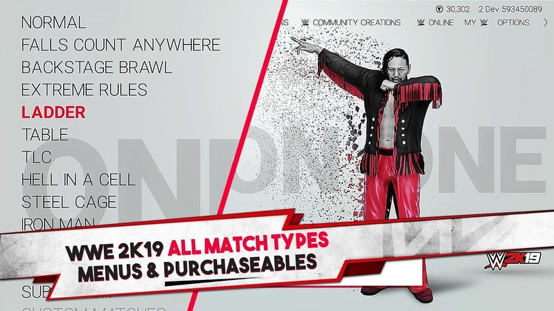 WWE 2K19 All Match Types Menus Purchaseables 20 Match Types