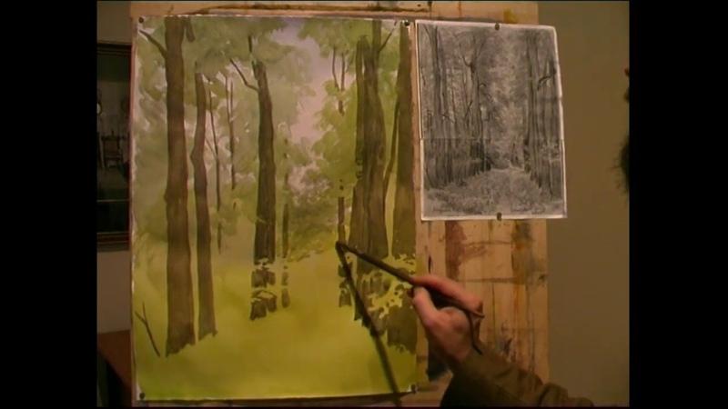 Летняя аллея Андрияка С Н ускоренный видеоурок акварель watercolor