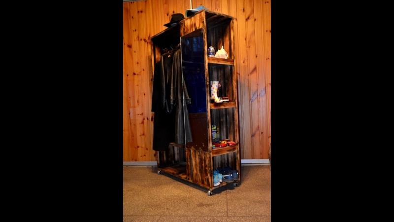 DIY Entrance hallway floor planked floor board rustic vintage mirror Прихожая из шпунта