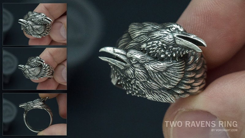 Two Ravens ring Silver