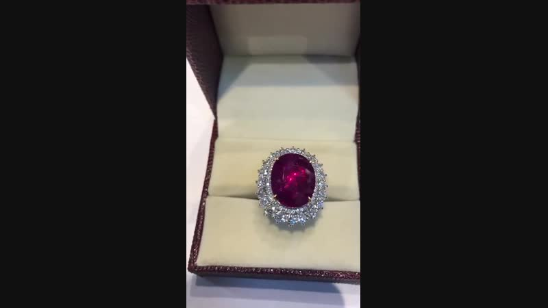 Кольцо с натуральным сертифицированным бирманским рубином из 20 96 ct