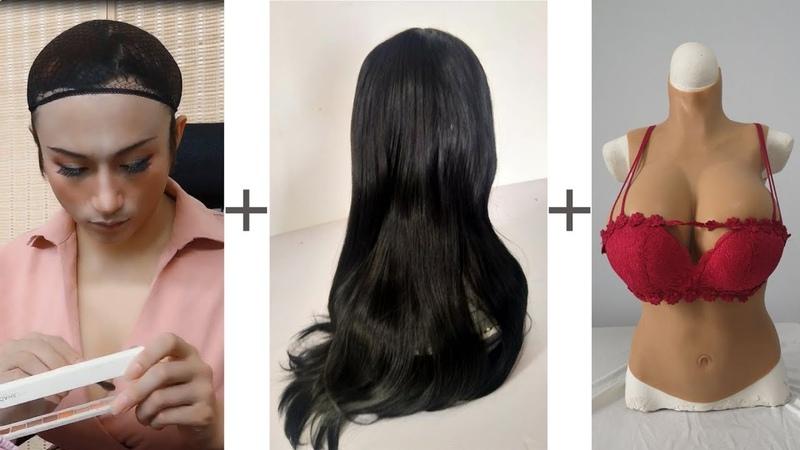 Male to Female makeup│crossdresser in public
