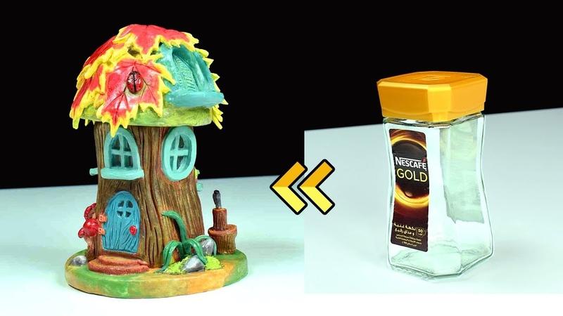 ♡ DIY Fairy Garden Log House Using Jar ♡