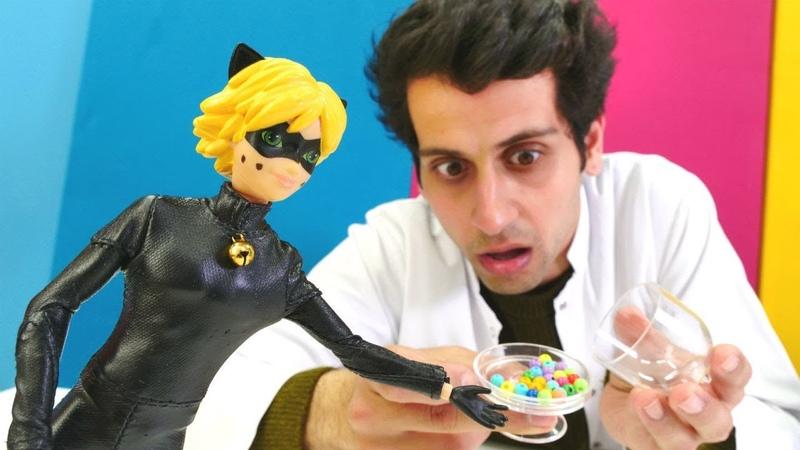 Kara Kedinin siyah noktalar çıkmış! Çizgi film oyuncakları. Kız ve erkek çocuk videosu!