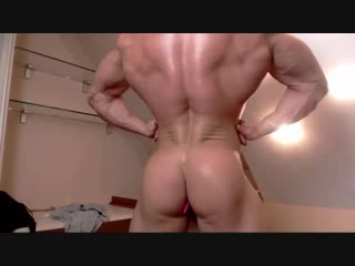 Very muscular young jock jerking off