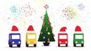 4 coches coloreados celebran la Navidad Dibujos animados