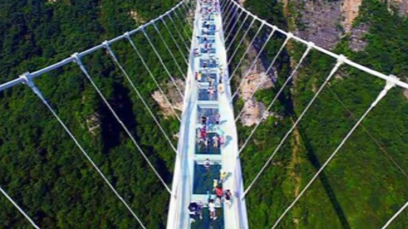 Zhangjiajie Grand Canyon Glass Bridge in China- Worlds Tallest Longest Glass Bridge