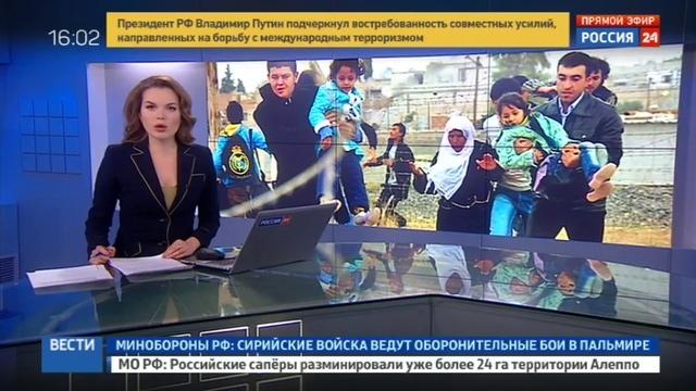 Новости на Россия 24 • Террористы пытаются спрятаться от ВКС в жилых кварталах Пальмиры
