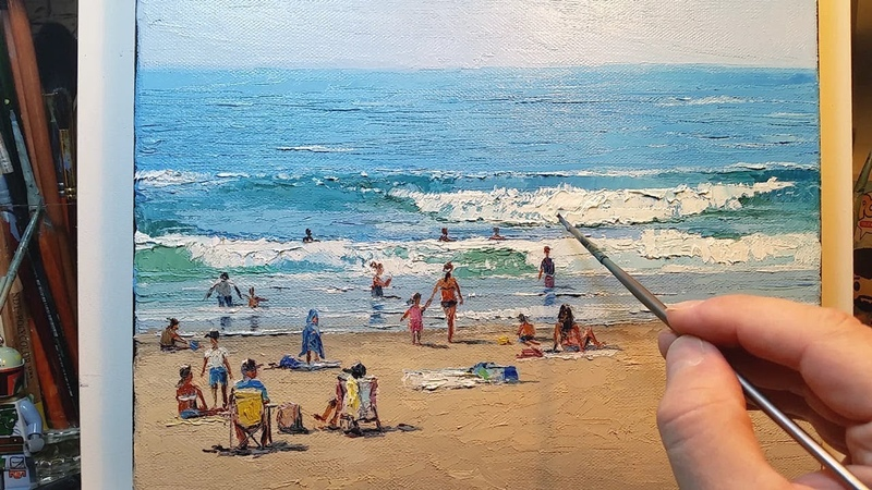 On the Beach - Painting in Real Time - Palette Knife | Brush Ocean Coast Waves People Dusan