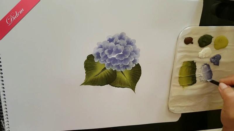 One Stroke Mine Çiçeği ve Büyük Yaprak Hareketinden ORTANCA çalışması | Didem One Stroke